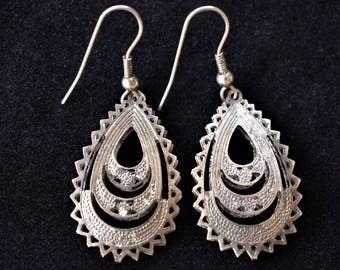 Vintage Ornate Teardrop Dangle Cut Out Statement Earrings Silver Tone Boho Retro Costume Jewelry 2""