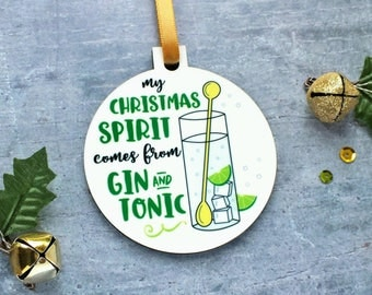 Gin Ornament, Gin Bauble, Gin and Tonic Gift, Gin And Tonic Ornament, Gin Gift, Christmas Spirit, Alcohol Ornament, Funny Ornament, Gin Fun