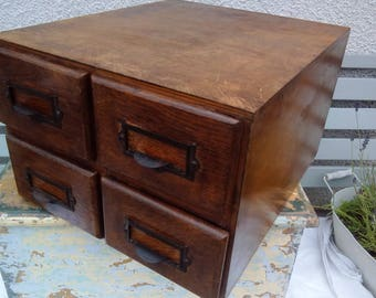 Vintage wooden office filing drawers sewing jewellery storage