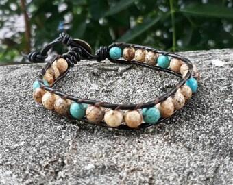 Jasper leather bracelets,stone bracelets,turquoise bracelets,bracelets for men and women