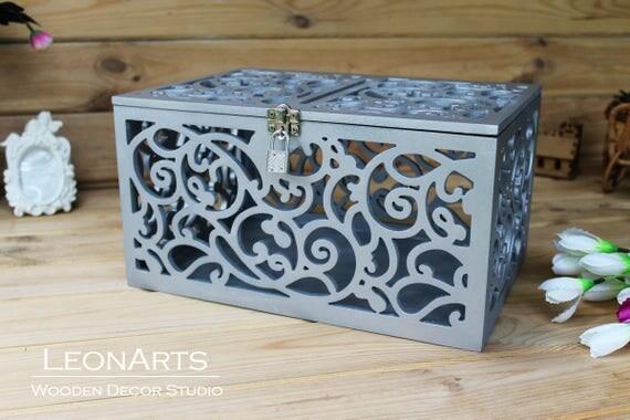 Lockable Wedding Card Box in SilverSilber Keepsake Box with – Lockable Wedding Card Box