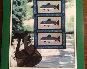 Angler's Delight (Fish) Quilt - Wallhanging Pattern, Pieced   - Vintage 1997