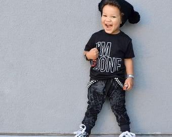 Black Graffiti Harem pants