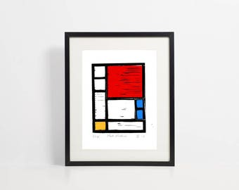 Linocut print - Mondrian style - affordable art - modern art - great masters - minimalist art - original hand pulled print by Design Smith.