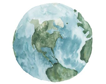 Watercolor Earth Printable