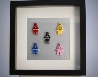 Power Rangers mini Figure framed picture 25 by 25 cm