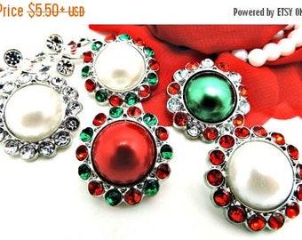 20% SALE Christmas Red & Green Pearl Rhinestone Button W/ Surrounding Acrylic Rhinestones Embellishments Garment Wedding Coat Buttons  26mm