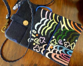 Mini Asian inspired denim zipper pouch
