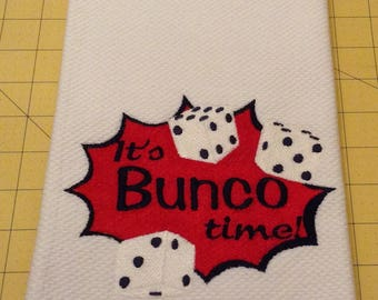 IT'S BUNCO TIME!  Embroidered Williams Sonoma All Purpose Kitchen Towel. Cotton Terry, X L