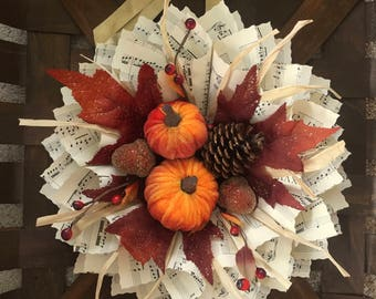Fall Paper Wreath - sheet music wreath - book page decor - piano teacher gift - rustic wedding decor - Fall decor - Hostess Gift