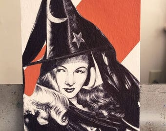 Veronica Lake, Vintage, Old Hollywood, Original Art, Witch, 1940s, Comedies, Classic