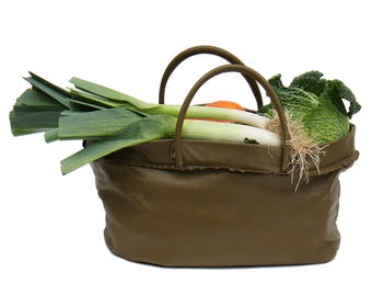 large leather bag, greenery, handmade / family shopping bag / week end in purchase