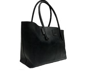 Leather bag shopper Ledershopper black vintage style! Handmade