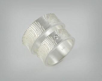 """Partner rings / wedding rings """"double - finger print"""""""