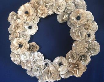 Book paper flower wreath, paper flowers wreath