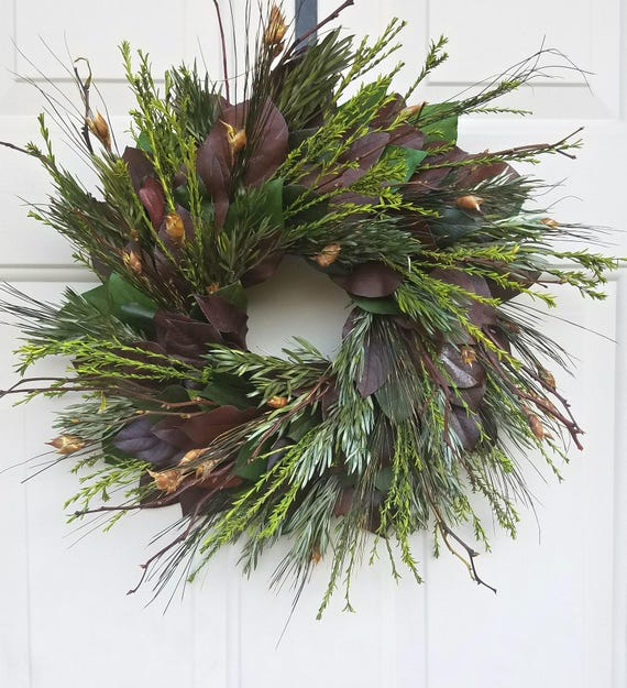 Fall wreath, 30 inch leaf wreath, back woods, dried wreath, cottage wreath, salal wreath, preserved wreath, natural wreath,  autum wreath