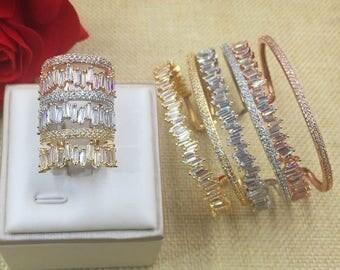 AAA Cubic Zirconia Women Baguette Bracelet Bangle And Ring Set