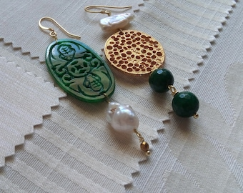 pair of earring different handmade brass components, jade and Pearl scaramazze