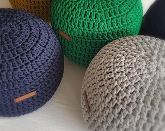Yellow, forest green, gray  Hand Crochet Pouf- Kids  Furniture, Bean Bag Chairs, Nursery Decor, Footstool, Ottoman