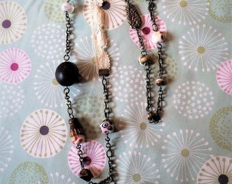 Bohemian necklace with Lampwork Glass Beads.