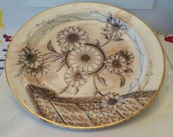 Beautiful Doulton Burslem Art Deco style floral designs dinner plate stamped