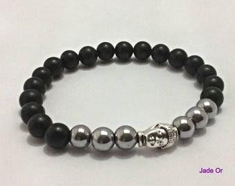 Bracelet unisex Tibetan silver Buddha and silver, matte onyx hematite beads