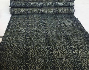 Natural Hmong hemp fabric,vintage  hemp hand dyed Hmong hill tribe -Bed runner ,Table runner