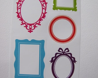 10 stickers shaped baroque frames - 2 sheets of 5.