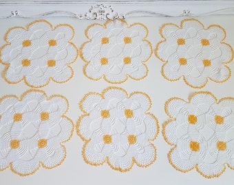 Vintage Set of White and Yellow Crochet Doilies, Handmade Lace Doilies
