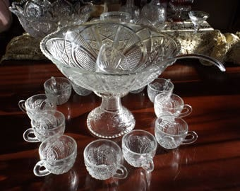 McKee The Concord Clear Punch Bowl with Stand, cups ,Pressed Glass Pattern Glass