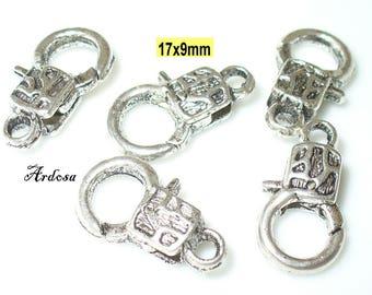5 decorative carabiners Tibetan silver 17x9mm (K110. 19)