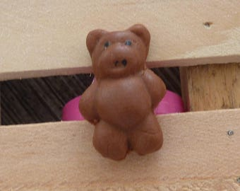 Adjustable ring adjustable child Fuchsia plastic Teddy bear chocolate Marshmallow Fimo polymer clay