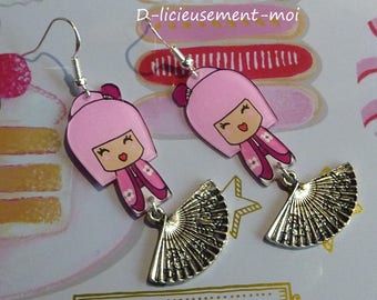 Earrings in sterling silver 925 pink chibi kawaii kokeshi doll girl hand-painted crazy plastic crazy fan