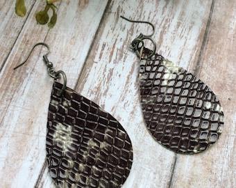 Reptile teardrop leather earrings, white, black, and gray teardrop earrings, white and black with gray leather earrings