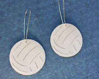 Volleyball earrings, volleyball  leather earrings, sports earrings