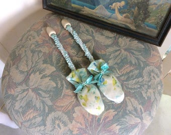 Vintage Shoe Trees, Stuffed and Scented Satin Toes with Ribbon Work and Vintage Flower Beads, Yummy Aqua Blues, Greens and White