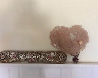 Natural Fan Coral in Light Pink with added shells from Kauai, Haw.. Beach Decor