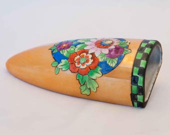 Vintage Ceramic Wall Pocket, Floral and Gold Lusterware - Hand painted in Japan