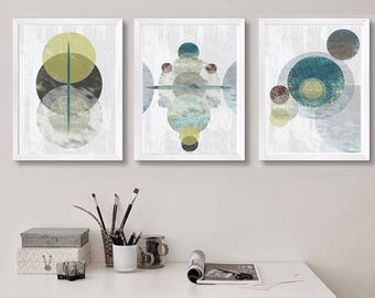 Set Prints Geometric Print Cosmos Wall Art Digital Download Print Scandinavian Circle Print Circle Art Geometric Art Abstract Poster