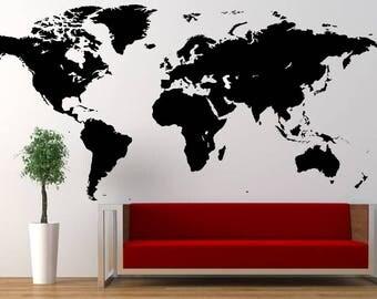 World Map Wall Art Sticker Decal