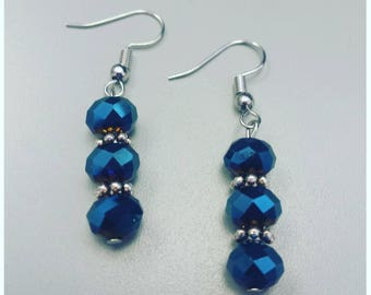 Shiny blue earrings, bollywood earrings, bollywood inspired jewelry, gypsy earrings, beaded earrings, blue beaded earrings, boho jewelry
