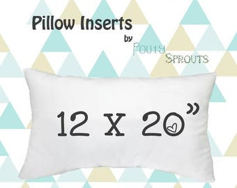 SALE ENDS SOON Faux Down Pillow Inserts, Soft Throw Pillows, Lumbar Size Pillow Cushions, Couch Pillows, Throw Pillow Inserts, 12x20""