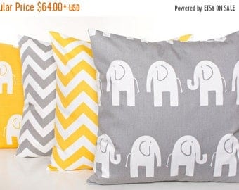 SALE ENDS SOON Gray and Yellow Throw Pillow Cover Set, Yellow Throw Pillow Covers, Gray and White Nursery Decor, Crib Pillows, Elephant, Zig