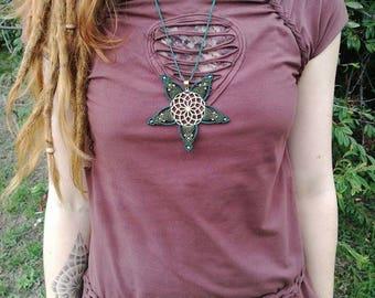 SALE! necklace gold pendant sacred geometry mandala macrame necklace