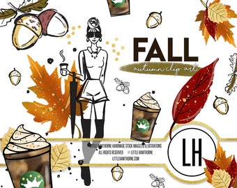 Fall Clip Art, Planner Girl,Planner Stickers, Autumn Clip art, Fall Autumn Leaves Clip Art, Fashion Clip Art, Fashion Illustration