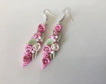 Pink floral earrings in polymer clay earrings