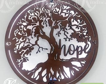 Wooden wall light sign, HOPE TREE, 43cm, Inspirational wall art, inspirational gift, elegant, rustic, home sign decor