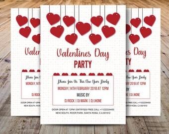 Valentinstag Tag Party Flyer, Valentines Day Party Einladung Vorlage, MS  Word, Photoshop U0026