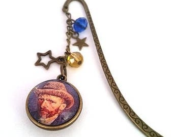 Vincent Van Gogh's starry night bookmarks • cabochon double sided vintage bronze • •