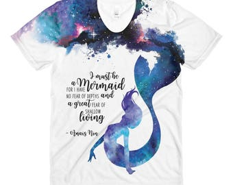 Mermaid Top, I Must Be a Mermaid, Anais Nin Quote, Watercolor Galaxy Mermaid, Sublimation women's crew neck t-shirt,